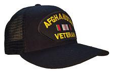 Afghanistan Veteran Service Ribbon Hat Black Ball Cap MESH BACK SNAPBACK TRUCKER