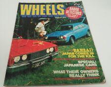 Aug 1977 WHEELS Mag Mazda 323 LANCER Civic GEMINI Cortina TE , BMW 733