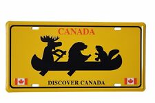 DISCOVER CANADA - Beaver, Bear, Moose On Boat  Souvenir CAR LICENSED PLATE..New