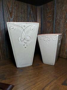 Pair Of Taupe Ceramic Flower Vases Planters Fleur-de-lis Embossing Home Decor