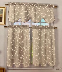 Home Maison Sheer 3 Pc Window Curtain Set Embroidered Threads Beige Ivory Linen