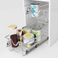 2 Pcs Pull-Out Wire Basket Kitchen Cabinet Organizer Rack Sliding Shelf Drawer~