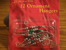 Christmas Tree Ornament Hangers/Hook! Silver w/Colored Beads~Buy 5 get one FREE!