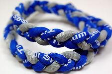 "Pack Of 2 20"" 3 Rope Titanium Sport Necklace Royal Blue Gray Tornado Baseball"