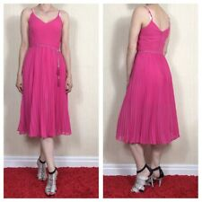 Oasis Lace Trim Pink Pleated Summer Midi Cami Dress Size 8 UK