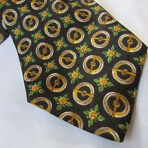Valentino Cravatte Tie Black with Gold Shields Silk Hand Made in Italy Vintage