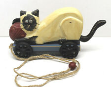 Vintage Pull-a-Long Wood Wooden Cat Child Pull Toy with Moving Tail Hand Painted