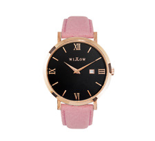Willow Watch Rose Gold/Black Dial Pink Leather Strap RRP $149 NWT