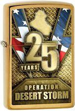 Zippo 2016 Catalog NEW Desert Storm 25 Anniversary Brushed Brass Lighter 29177