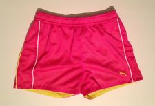 Puma Girl's Pink Yellow Striped Athletic Shorts Youth Size Extra Large XL ( 16 )