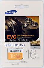 SAMSUNG EVO 16 GB SDHC CARD 48MBs Class 10 Ultra Camera Memory Card 16G UHS-I HD