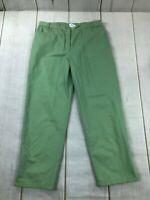 Pendleton Womens High Rise Flat Front Straight Leg Green Pants Size 16