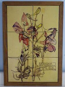 VINTAGE ARTS AND CRAFTS CHARLES RENNIE MACKINTOSH SIX TILES PANEL LARKSPUR 1914