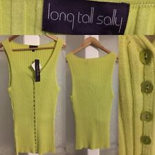 Long Tall Sally Lime Green Vest Top Ribbed Modal / Cotton / Lycra Stretch BNWT