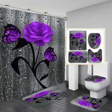 Butterfly Rose Bathroom Rug Anti-Slip Shower Curtain Bath Toilet Lid Cover Mat