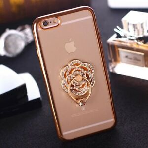 Universal 360 Rotating Finger Ring Stand Holder For Cell Phone-Love Crystal Rose