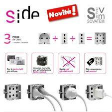 4box Presa multistandard 1 Schuko o 2 Bipasso compatibile con Bticino matix 250v