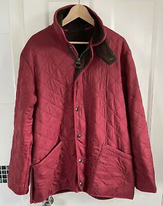 Mens Vintage Barbour Polar Quilts Jacket Quilted Red Fleece Lined XL XXL