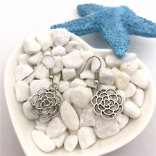 Flower Connectors Earrings Tibet silver Charms Earrings Charm Earrings for Her
