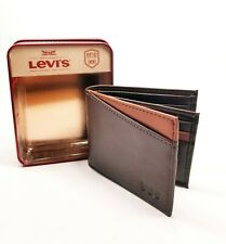 eb70d1b9f Levi's Men's Genuine Leather Connor RFID Blocking Slimfold Wallet Brown New  ...