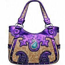 Purple & Cream Concealed Carry Western Studded Purse