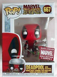 DEADPOOL with HEADPOOL Zombies Collector Corps Exclusive Funko Pop Vinyl Figure!