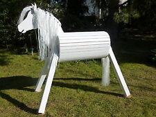 110cm Holzpferd Voltigierpferd Pony Pferd Lipizzaner mit Maul weiß NEU !!