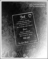 Personalised Dad Wedding Gift Wallet Card Keepsake. Quality Engraved Acrylic