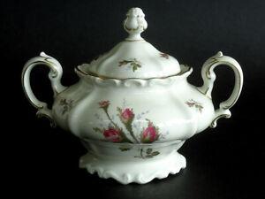Vintage Rosenthal POMPADOUR Moss Rose Ivory Handled Sugar Bowl & Lid