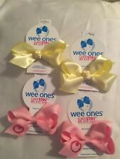 WEE ONES MONOGRAM O HAIR BOW LOT NEW SMALL PINK YELLOW WEESTAY CLIP GROSGRAIN