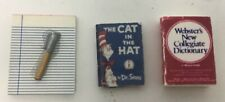 Dollhouse Miniature Lot Notebook Pen Dictionary & Cat In Hat Book