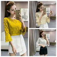 Women Casual Blouse Lace Hollow Out Bell Sleeve Crochet Shirt Chiffon Slim TopsJ