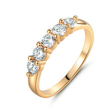 5-Stones Diamond Laurel Crown Style Yellow Gold Filled Women Lady Party Rings