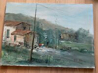 Vintage Oil Painting On Canvas Coastal Landscape Mid Century Modern Italian