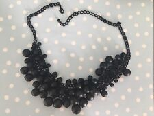 STATEMENT NECKLACE - BLACK CHAIN AND METAL DANGLY BEADS - NEW