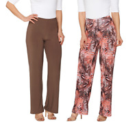 Attitudes By Renee Tall Printed And Solid Knit Pants Set Size M BLACK Color