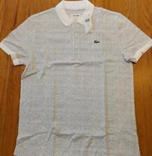 Mens Authentic Lacoste Sport Herringbone Polo Shirt White 3 Small $95