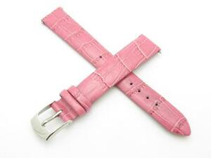 High Quality Genuine Pink Leather 14mm Replacement Watch Band With Pins Included