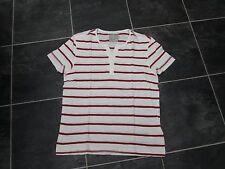 Burton Da Uomo Girocollo Maglietta crema con righe rosse taglia S