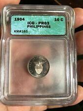 US PHILIPPINES TEN CENTAVO 1904 ICG PR63