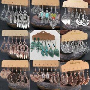3 Pairs Retro Bohemia Gypsy Earrings Set Tribal Ethnic Festival Drop Dangle Gift