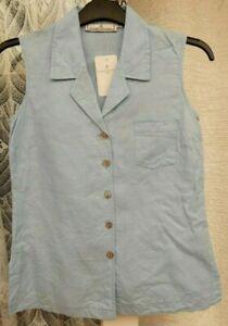( Ref 6365 ) Elizabeth Emanuel - Size S - Blue Sleeveless Blouse Shirt Top BNWT