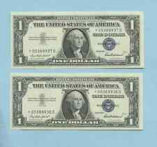 2 RARE 1957 UNC ONE DOLLAR BILL  STAR NOTE LOW PRINT 1.00 *05389936D -37
