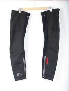 L172/40 Gore Black Bike Wear Windstopper Membrane Soft Shell Leg Warmers size S