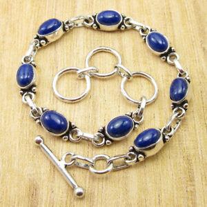 "Beautiful Lapis Lazuli Mother's Day Bracelet 8"" Silver Plated Jewelry BRAND NEW"