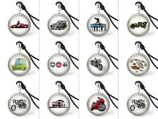 Animated Toy Cars and Bikes Necklace Pendants Pewter Silver Jewelry JNP