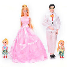 Family 4 People Dolls Suits 1 Mom/1Dad/2 Little Girl for Girls Play House Toys