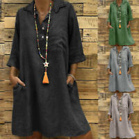 Women Cotton Linen Boho Summer Dress Evening Party 3/4Sleeve Button Sundress AU