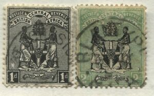 British Central Africa 1895 1d and 2d used