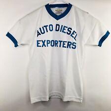 Vintage Athletic Knitwear Auto Diesel Mens Medium White Blue V Neck Jersey Shirt